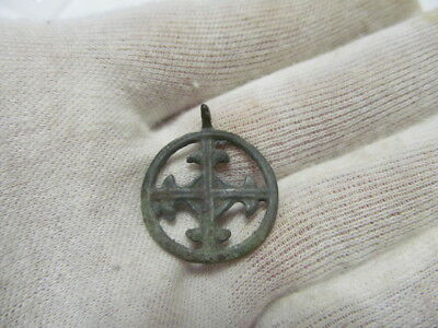 "Ancient bronze pendant ""Cross in circle"" Kievan Rus Vikings 9-13 AD № 409/3."