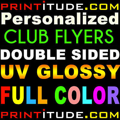 1000 CLUB FLYERS 2x5.5 FULL COLOR UV GLOSS 2 SIDE 14PT POSTCARD OFFSET PRINTING