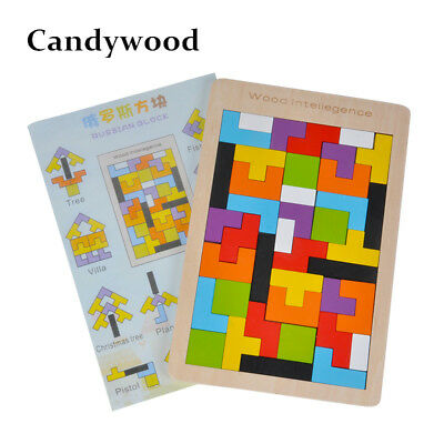 Kids Toys Wooden /Jigsaw Board Puzzle Brain Teaser Puzzle Tetris Game Tangram
