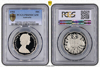 1981 PR69DCAM Aust Fifty Cent 50c Coat Of Arms PCGS Graded Coin - Proof
