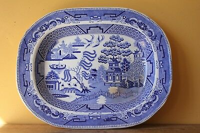 Large Antique Blue Willow platter.