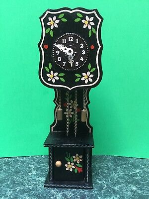 Vintage Mini German Hand Painted Key Wind Grandfather Clock With Key Working!
