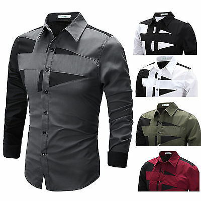 Mens Luxury Dress Shirt Top Design Long Sleeve Casual Slim Fitted T-Shirt Top