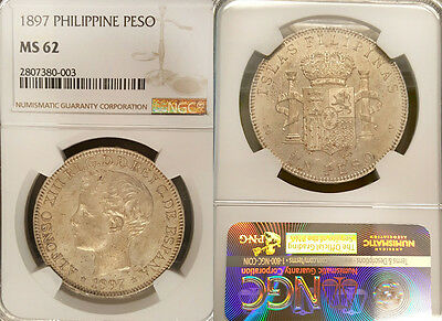 Philippines 1897 Peso, Rare High Grade NGC 62, Sharp, Luster Fields, Beauty.