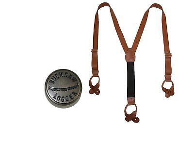 New CTM Men's Leather Button-End Y-Back Suspender with Bachelor Buttons