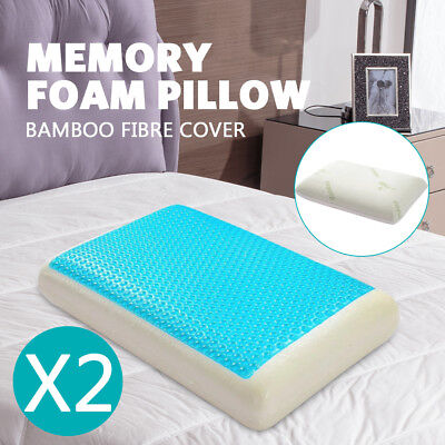 Deluxe Density Memory Foam Pillow With Cooling Gel Top With Cover Gel  Hotel X 2
