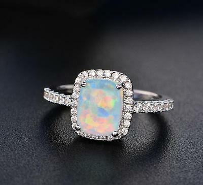 925 Silver Natural Multi-Color Rainbow Fire Opal Topaz Gemstone Wedding Rings !!