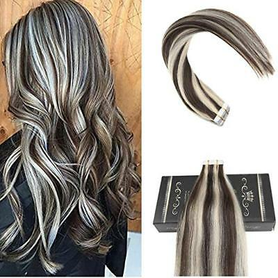 BALAYAGE TAPE IN Thick Hair Extensions Dark Brown with Platinum Blonde  Seamless