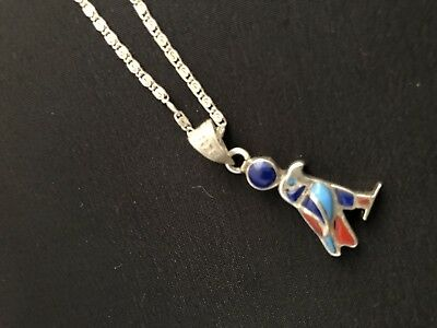 Egyptian revival Silver 800 Necklace Horus falcon gems  god of war vintage chain