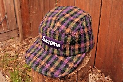 e84887b3961 Supreme NY Plaid Fleece 5 Panel Camp Cap Hat F W 2015 Nas Arabic Clippers