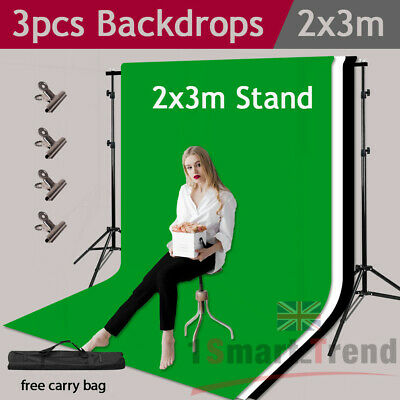 Photography Chroma Key Green Screen With Black White Backdrop Stand Support Kit