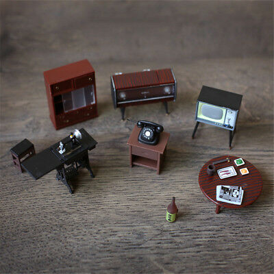 6Pcs/ Set Vintage Wooden Furniture Retro Dolls House Miniature Toys Kids Gifts
