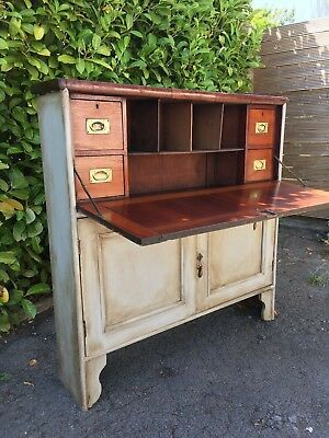 c.19th Century Slim Antique Victorian Secretaire Mahogany Bureau Desk Painted