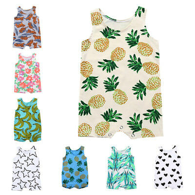 Newborn Infant Baby Boy Girl Sleeveless Bodysuit Romper Jumpsuit Outfits Clothes