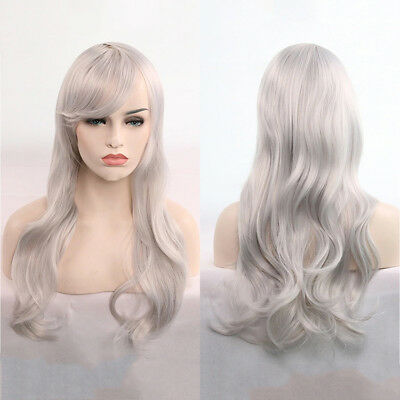 Women Girls 70cm Long Wavy Curly Hair Synthetic Cosplay Full Wig Wigs Party Prop