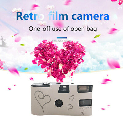 Disposable 36 HD film Cameras with Flash White and Silver Hearts Cameras Favors