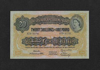 UNC 20 shillings 1955 EAST AFRICA England