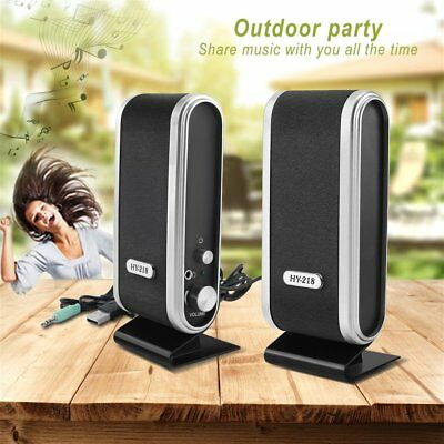 Pair USB Wired Speaker Notebook Desktop Computer Stereo Sound Music Player