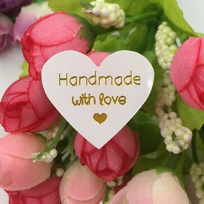 Stickers - Hand Made With Love - WHITE HEART - Set of 50 - 3.2cm x 3cm