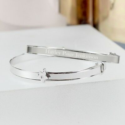 Personalised STERLING SILVER EXPANDING BRACELET New Baby Christening Baptism