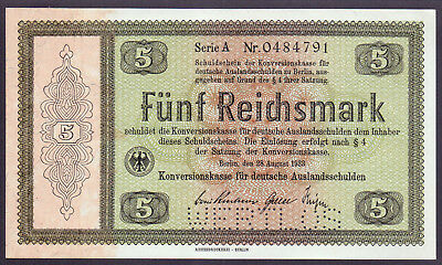 "5 Reichs- Mark 1933, Konversionskasse  Ros. 700 E2, Perforation ""WERTLOS"""