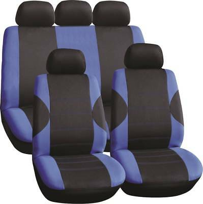 LUXURY BLACK & BLUE PANEL SEAT COVER SET for LAND ROVER DISCOVERY SPORT (16-ON)