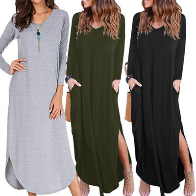 Womens Autumn V-Neck Solid Dress Long Sleeve Loose Dress Long Maxi Casual Dress