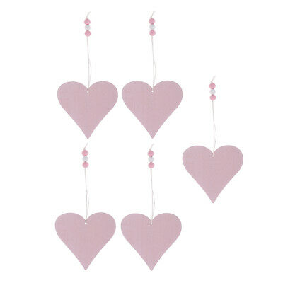 5x 9cm pink wooden heart gift tags signs keepsakes wedding decorations craft
