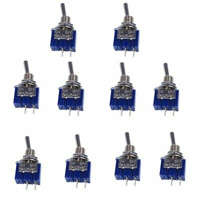 10pcs MTS-101 2 Pin SPST Switch ON-OFF 2 Position 6A 250V AC Mini Toggle Switch