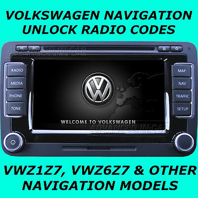 Vw Volkswagen Rns & Mfd Vwz6Z7 & Vwz1Z7 Radio Code Unlock For Navigation Models