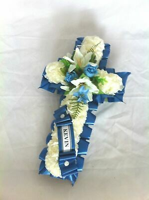 Artificial Silk Funeral Flowers Cross Tribute Memorial False Faux Grave Crucifix