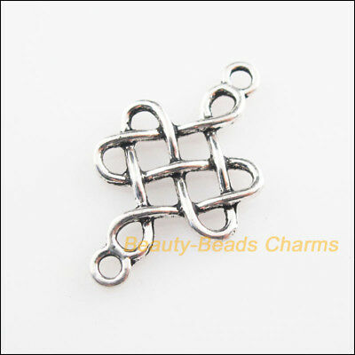 12 New Connectors Flower Chinese Knot Tibetan Silver Tone Charms 18x31mm