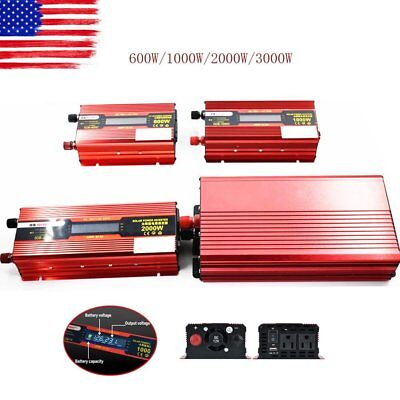 1000-3000W Peak Car LED Power Inverter DC 12V - AC 110V Dual Converter Charger A