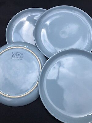 4 X Denby Homestead Brown tea plates 6.75 inches. Pale Duck Egg Blue Side Small