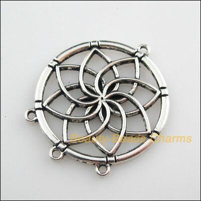 2 New Connectors Round Flower Tibetan Silver Tone Charms 35x40mm