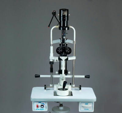 MIKO 2 step slit lamp bio Microscope with power source ,Wooden base