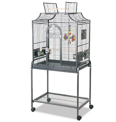 Sturdy Wheeled Large Metal Parakeet Canaries Bird Aviary Cage w Accessories New