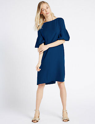 Ex M&S Blue Puff  Sleeve Tunic Dress Size 6 8 10 12 14 16 18  rrp £39.50
