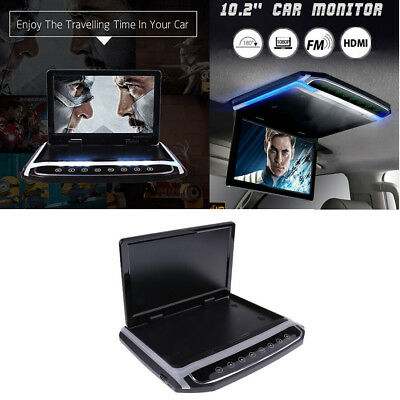 """Foldable Car Roof Mount LCD Color Digital Monitor MP3 Video Player 12V 10.2"""" HD"""