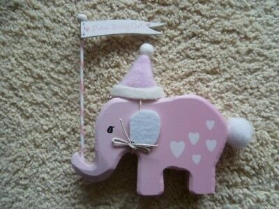 Pink Wooden Elephant Baby Ornament - Newborn Christening Nursery Gift