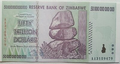 $50 000 000 000 000 Trillion Dollars- Zimbabwe Banknote  Uncirculated