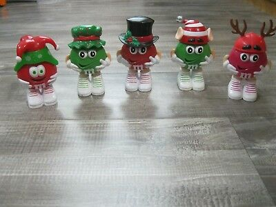 M&M'S Characters Christmas Candy Dispensers Figures Lot 5 Figures Mars