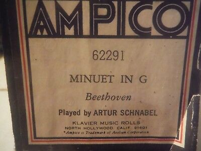 Ampico roll--Minuet in G--Beethoven  62291      Re-cut  Klavier
