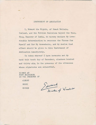 """RARE Typed Manuscript of """"Instrument of Abdication"""" Signed by King Edward VIII"""