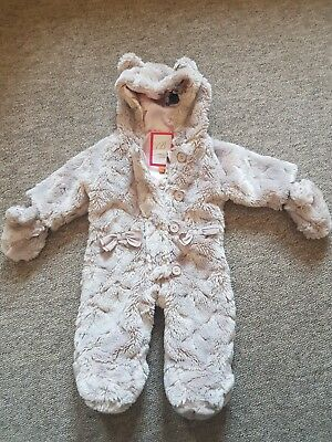 Ted Baker Baby Girl Bear Fur Snowsuit with Muffs - 0-3 Months - Excellent cond