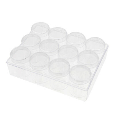 Clear Plastic Jewelry Bead Storage Box + 12Pcs 20g Round Container Tiny Jars