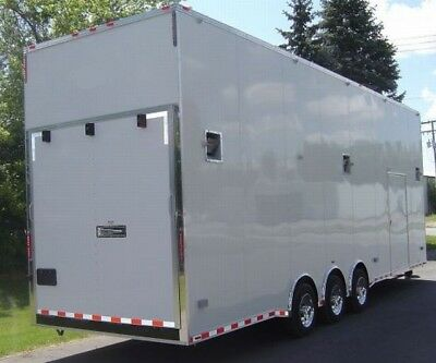 New 22' Stacker Trailer 2019- White- Lift-Deck-Spread Axle-All Led Lights