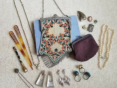 15 Pc Vintage Estate Lot Purse Jewelry Earrings Necklace Ring and More!