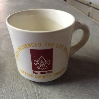 Vintage Boy Scout mug Suffolk County Council.I have influenced the life of a boy