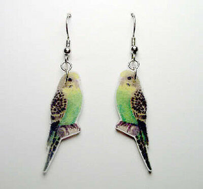 Green Yellow Parakeet Budgerigar Earrings Handcrafted Plastic Made in USA